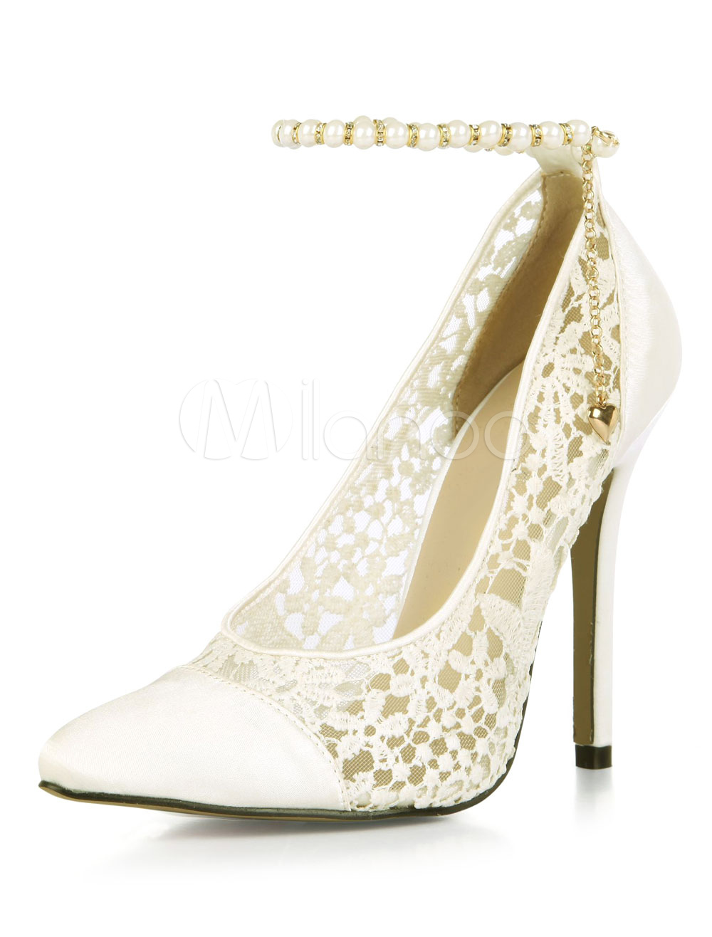 Buy Ivory Wedding Shoes Pointed Toe Beaded Stiletto Sky High Ankle Strap Bridal Pumps for $47.99 in Milanoo store