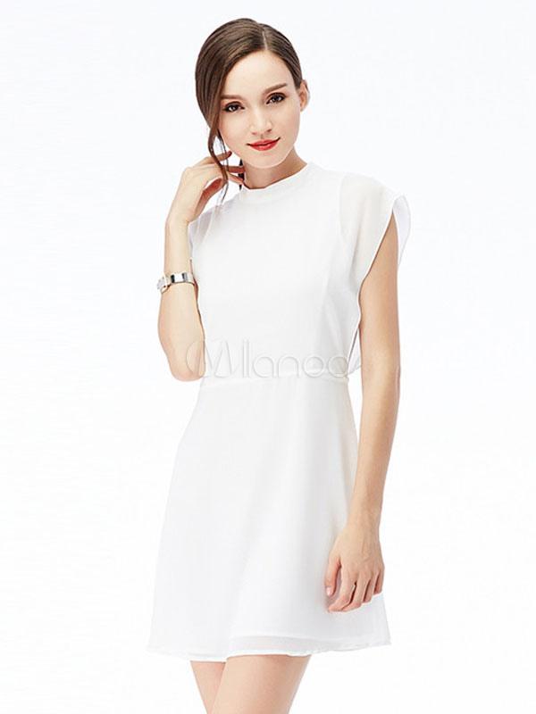 Abito plissettato fiocchi corto in chiffon maniche corte a girocollo  abbigliamento giornaliero monocolore donna -No ... 6a1b5405bfa