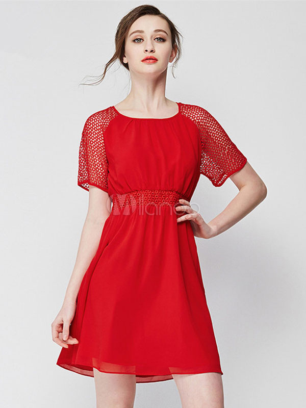 Buy Red Skater Dress Chiffon Round Neck Short Sleeve Pleated Flare Dress for $33.24 in Milanoo store