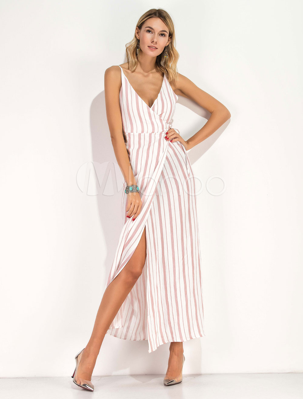 Buy Women's Maxi Dress Chiffon Blush Pink Striped Strappy V Neck Sleeveless Slit Long Dress for $28.49 in Milanoo store
