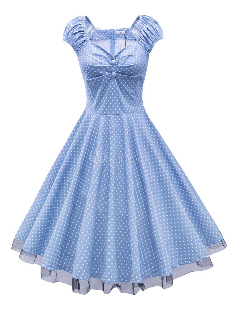 Women's Vintage Dress Light Blue V Neck Short Sleeve Polka Dot Pleated Slim Fit Skater Dress