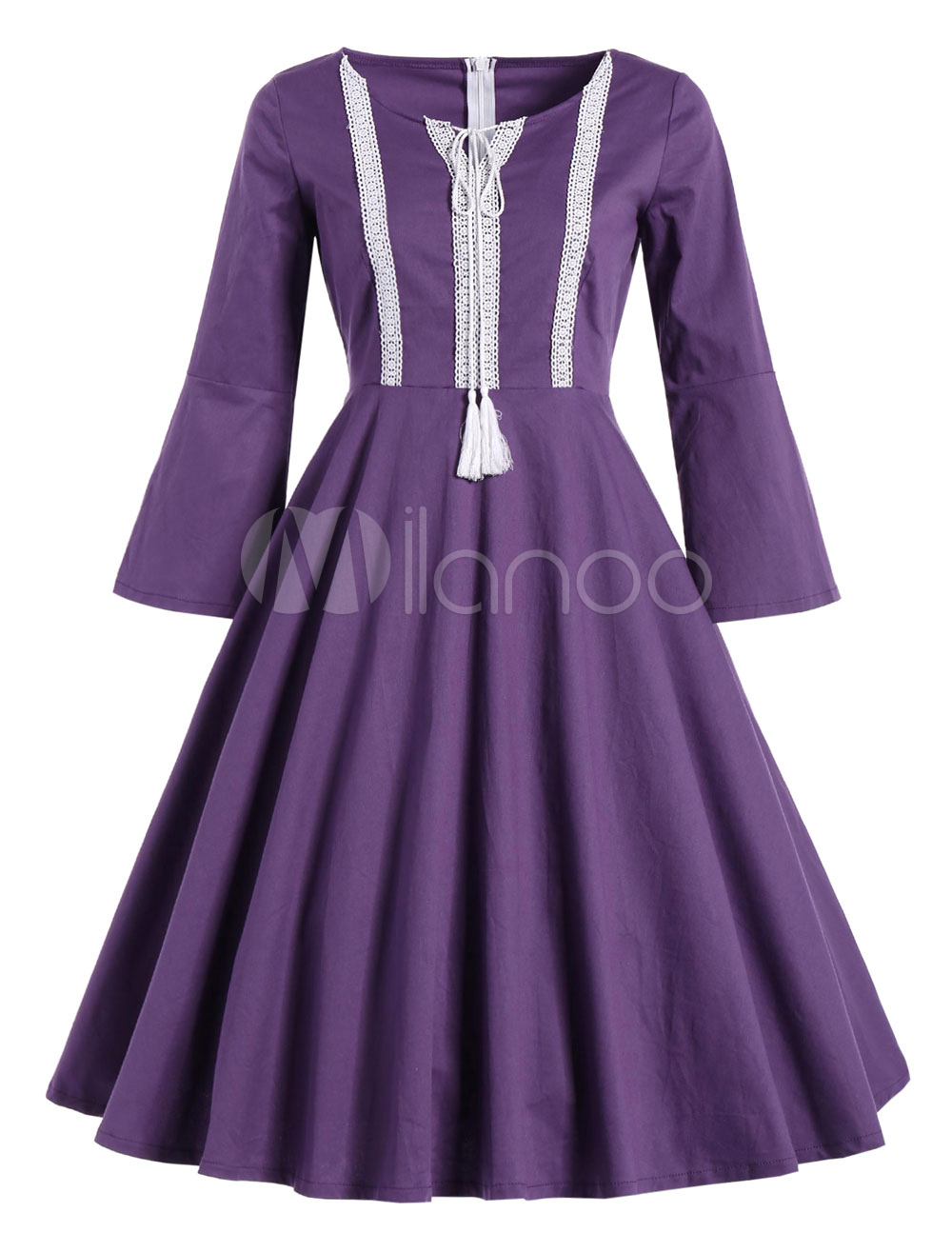 Buy Purple Vintage Dress Round Neck 3/4 Length Sleeve Pleated Skater Dress for $28.14 in Milanoo store