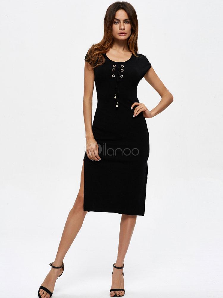 c54afc24bd66 Abito aderente donna nero in fibre di cotone con scollo tondo maniche corte  monocolore -No ...