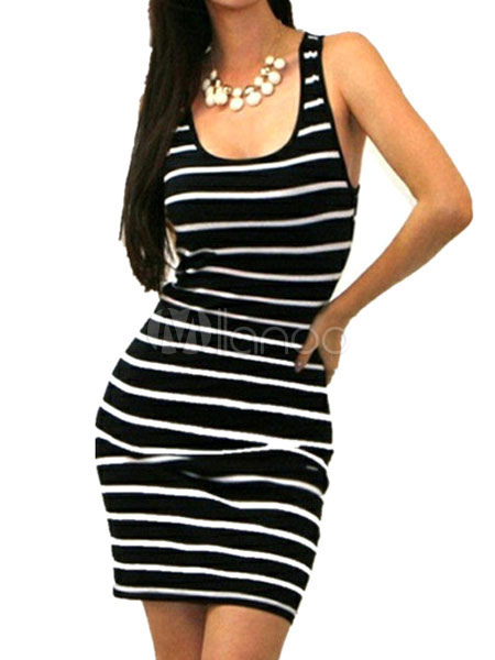 Buy Black Bodycon Dress Striped U Neck Sleeveless Slim Fit Sheath Dress For Women for $19.48 in Milanoo store