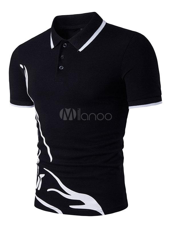 Short Sleeve T Shirt Geometric Print Summer Top Men Polo Shirt Cotton