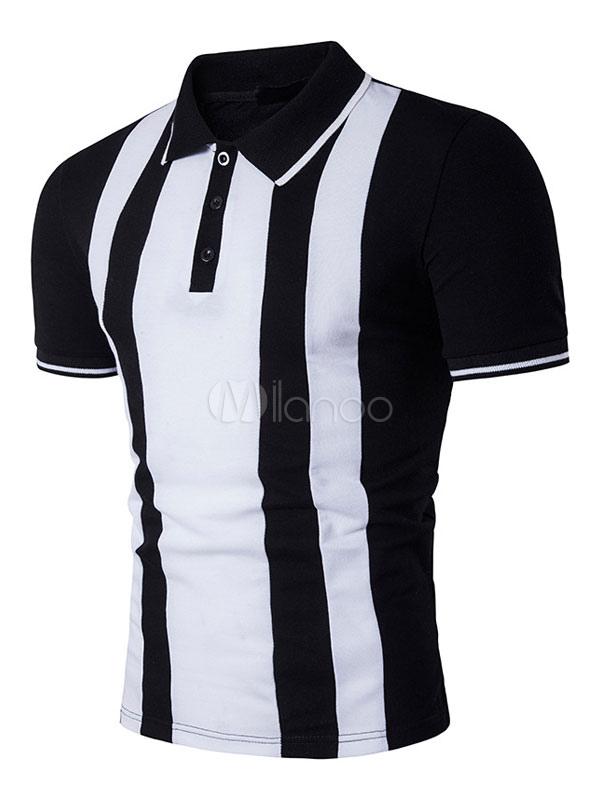 Men's Polo Shirts White Black Short Sleeve Summer Cotton T Shirts