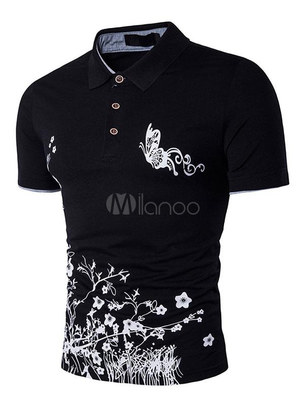 Black Polo Shirts Men's Short Sleeve Summer Cotton T Shirts
