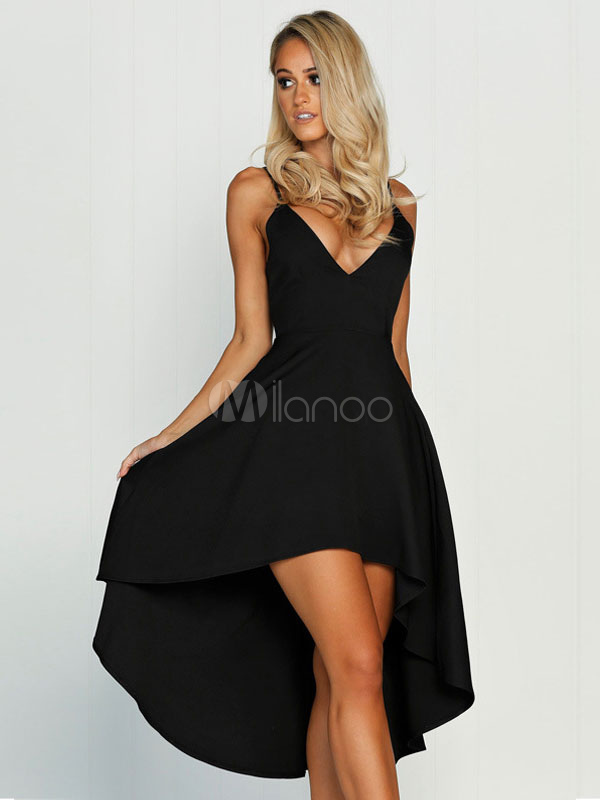e5ee6d15c0c25 Sexy Skater Dress Nude Strappy V Neck Sleeveless Pleated High Low Flare  Dress-No.