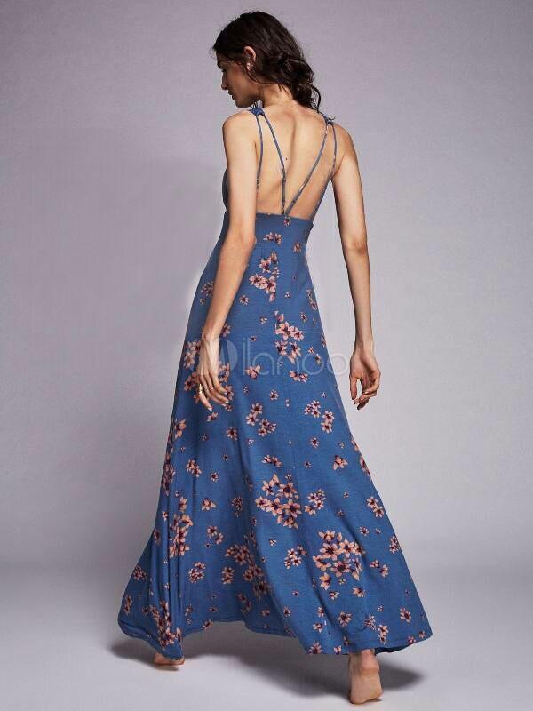 f25335d0a5b3 ... La stampa floreale del vestito blu dal maxi borda i vestiti lunghi sexy  da estate delle ...