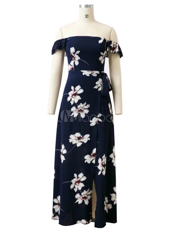 ... Abito maxi in chiffon stampa floreale fuori dai vestiti lunghi estivi  sposati della navata scura delle 6b635940e08