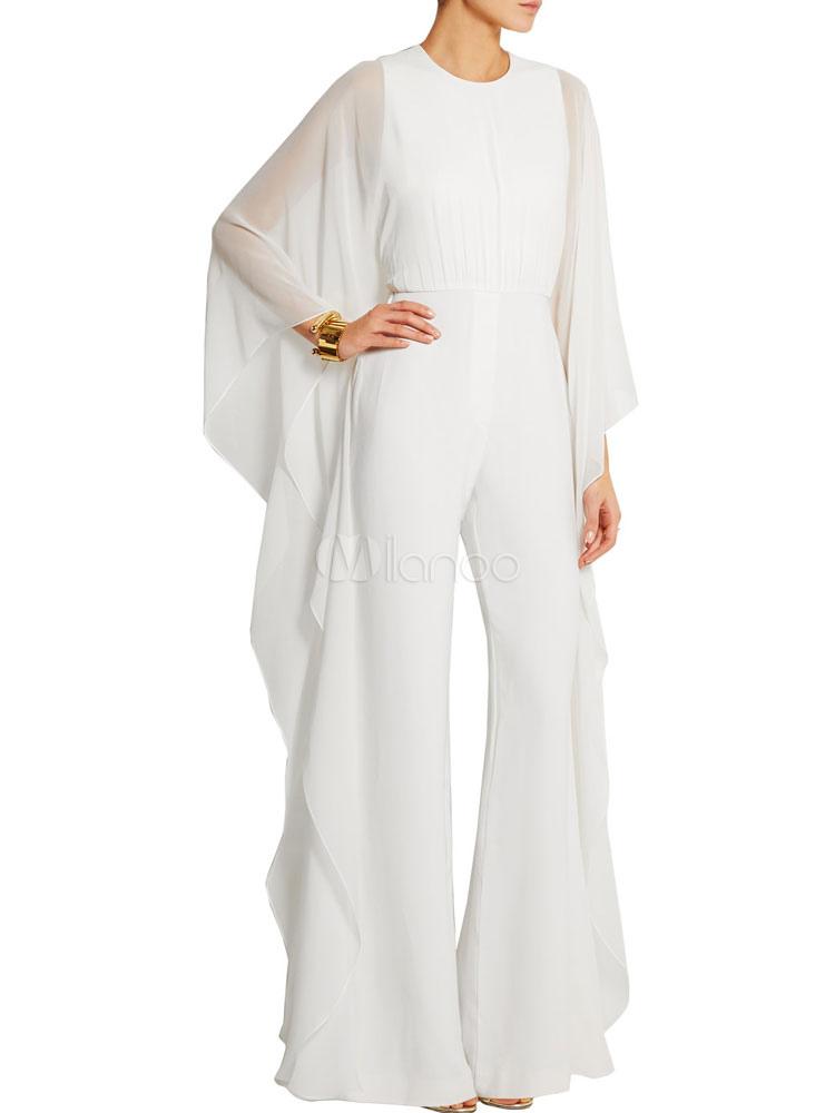 Chiffon White Jumpsuit Cascading Ruffles Long Sleeve Women's Wide Leg Long Jumpsuits Cheap clothes, free shipping worldwide