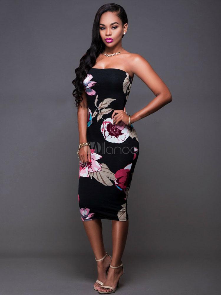 Silk Bodycon Dress Floral Printed Strapless Sleeveless Women s Black Midi  Wrap ... 20eb2f3128aa