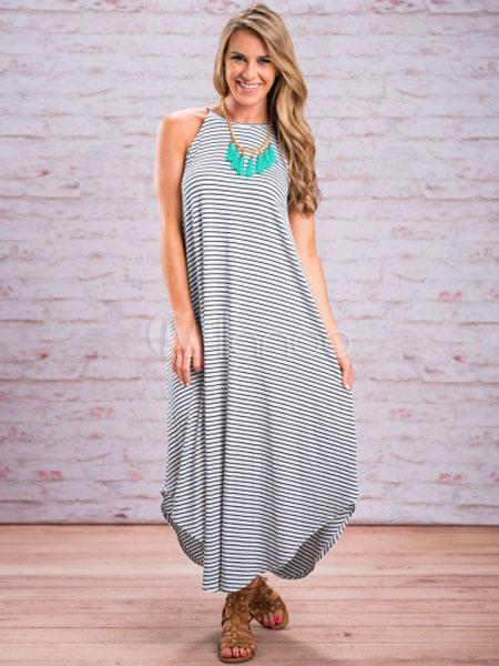 White Maxi Dress Striped Strappy Sleeveless Irregular Cotton Long Dress