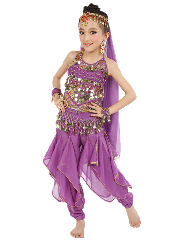 691cf253 Belly Dance Costume Kids Yellow Chiffon Bollywood Indian Dancing Costumes-No.1  ...