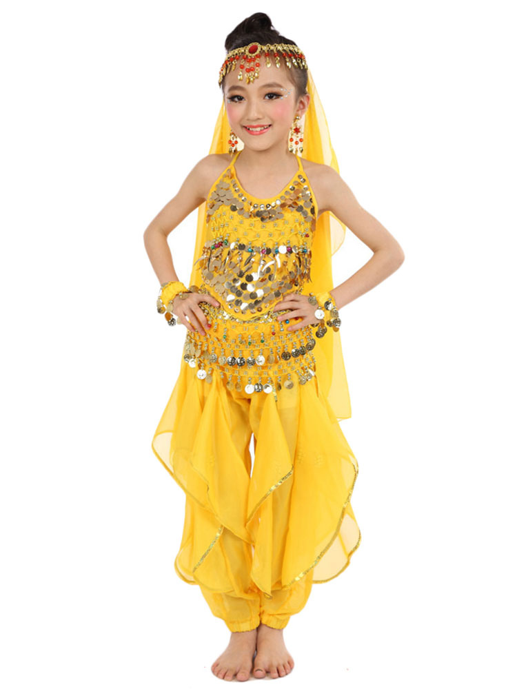 4ad4141d ... Belly Dance Costume Kids Yellow Chiffon Bollywood Indian Dancing  Costumes-No.4 ...