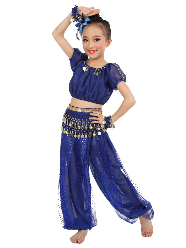 Belly Dance Costume Royal Blue Kids Chiffon Short Sleeve Indian Bollywood Dancing Costumes