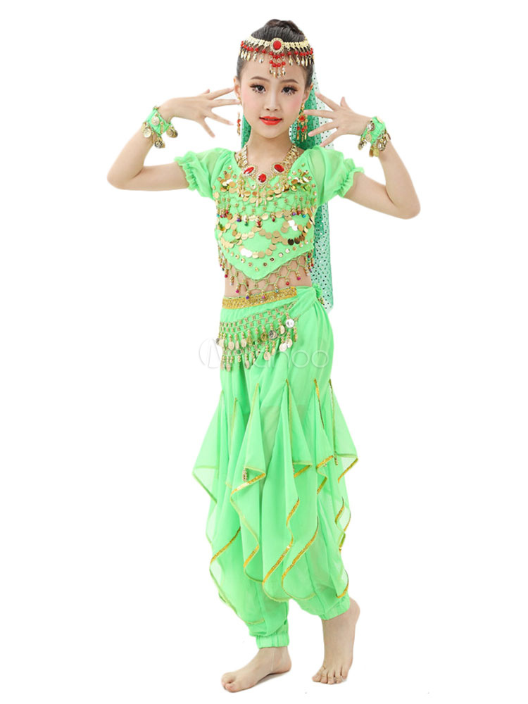 Buy Belly Dance Costume Kids Orange Chiffon Bollywood Indian Dancing Costumes for $39.99 in Milanoo store