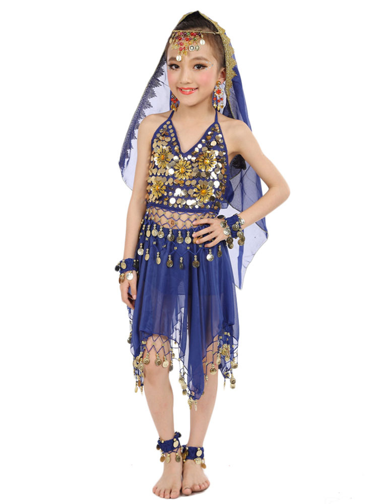 99770964 Belly Dance Costumes Kids Chiffon Red Sleeveless Indian Bollywood Dancing  Dresses-No.1 ...