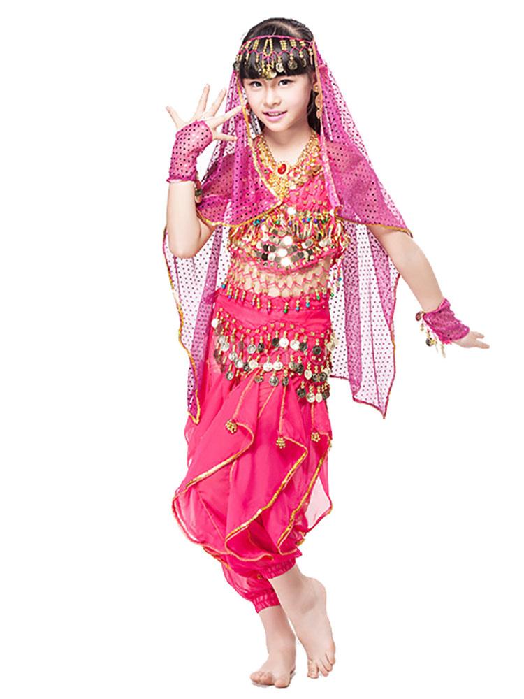 trajes de baile del vientre rojo niños gasa india Bollywood ...