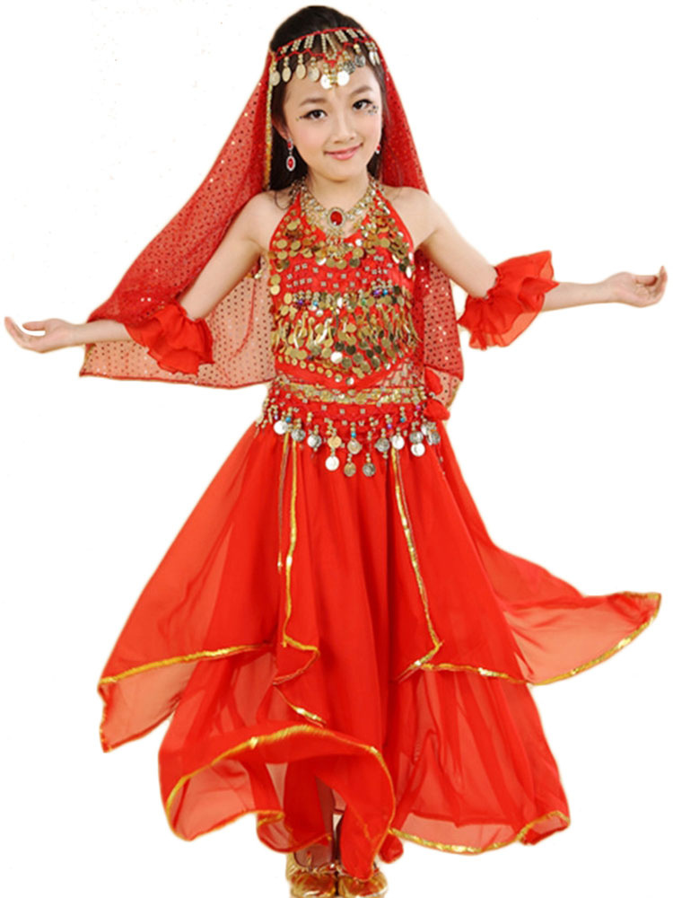 Belly Dance Costume Red Kids Chiffon Tiered Sleeveless Indian Bollywood Dancing Dresses
