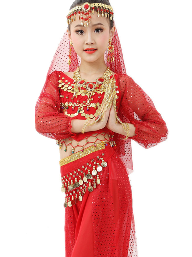 Buy Belly Dance Costume Kids Red Chiffon Long Sleeve Indian Bollywood Dancing Costumes for $40.99 in Milanoo store