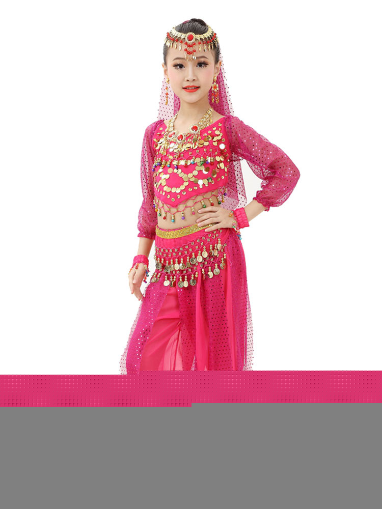 Belly Dance Costume Kids Red Chiffon Long Sleeve Indian ...