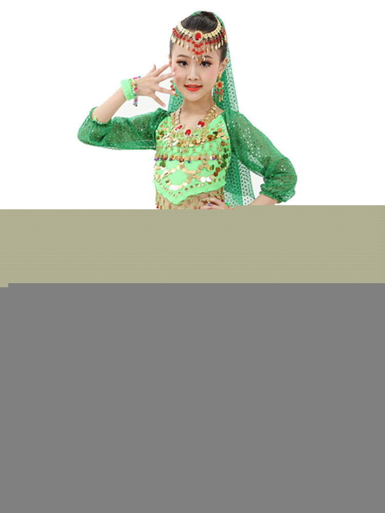 Belly Dance Costume Kids Red Chiffon Long Sleeve Indian Bollywood Dancing  Costumes