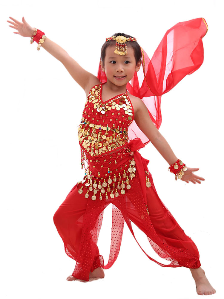 Belly Dance Costume Kids Red Chiffon Sleeveless Indian Bollywood Dancing Costumes - Milanoo.com