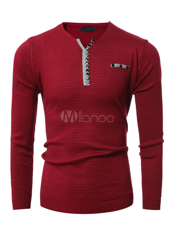 Red Pullover Sweater Men's V Neck Long Sleeve Casual Tops