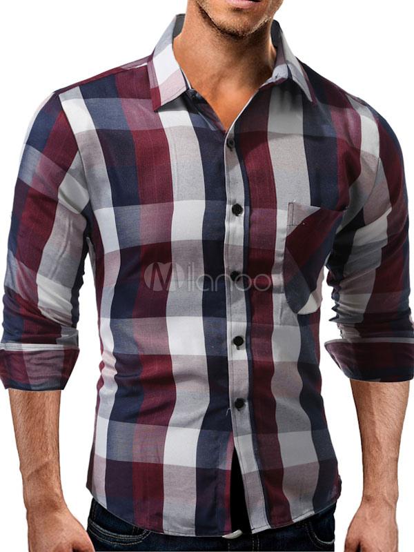 Buy Long Sleeve Shirt Men's Plaid Turndown Collar Long Sleeve Regular Fit Casual Shirt for $20.99 in Milanoo store