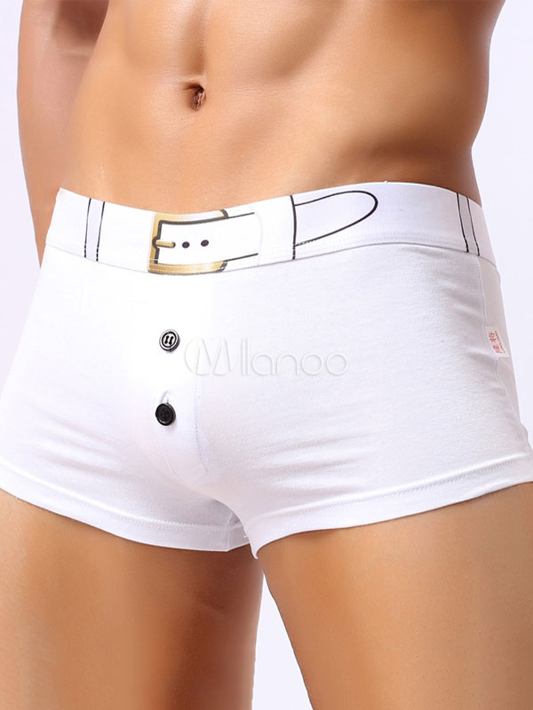 White Boxer Panties Men's Printed Underwear Lingerie