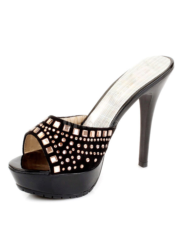e1e6e76b5cb786 Black Sandal Slippers High Heel Platform Rhinestones Beaded Stiletto Slide  Sandals-No.1 ...