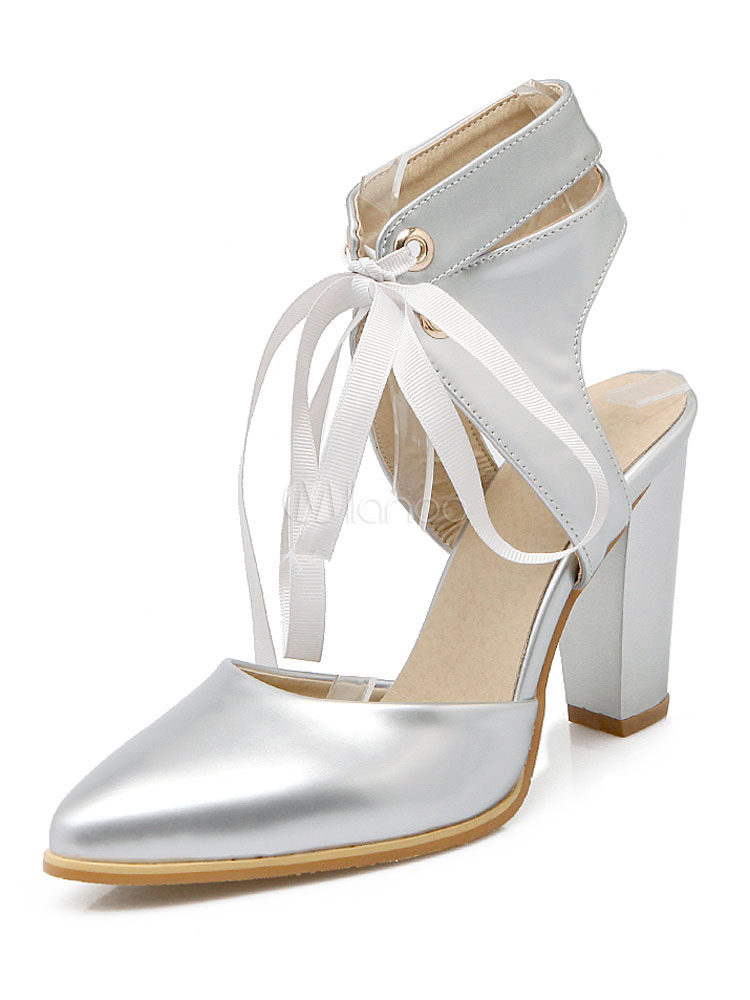 632a41b0d2d White High Heels Pointed Toe Lace Up Block Heel Pump Shoes For Women ...