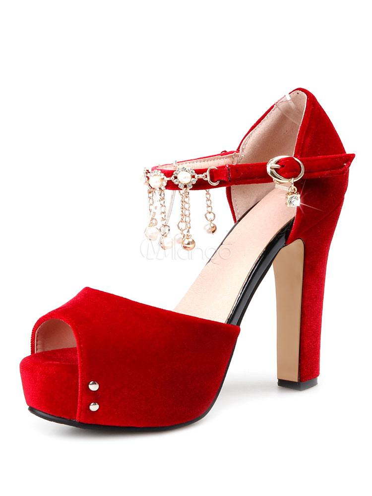 8e793eb73d10 Sandalias de tacón alto Suede Peep Toe Plataforma Roja Detalle de la cadena  Buckled zapatos de sandalia para las mujeres