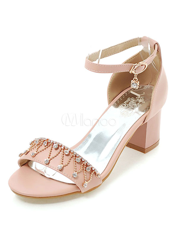 Buy Pink Sandal Shoes Mid Chunky Heel Women's Open Toe Rhinestones Beaded Ankle Strap Sandals for $28.49 in Milanoo store