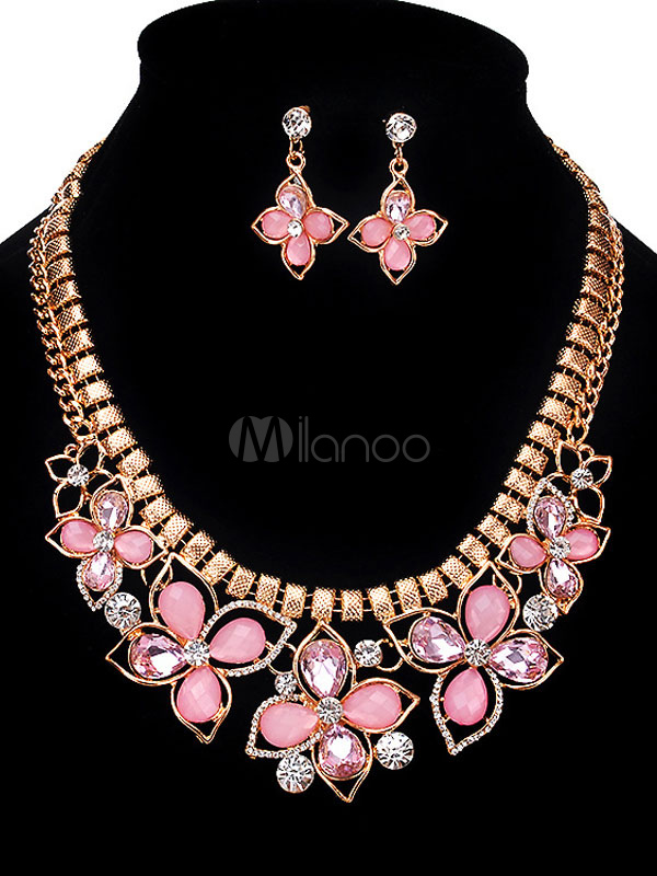 Pink Jewelry Set Women's Rhinestones Beaded Flowers Shape Statement Necklace With Drop Earrings