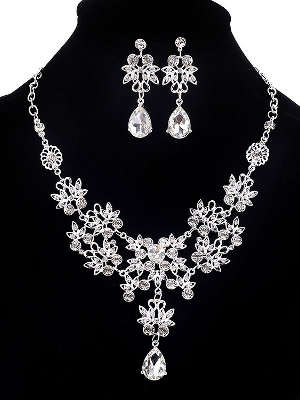 Rhinestones Jewelry Set Beaded Drop Earrings Women's 2 Piece Statement Necklace Set