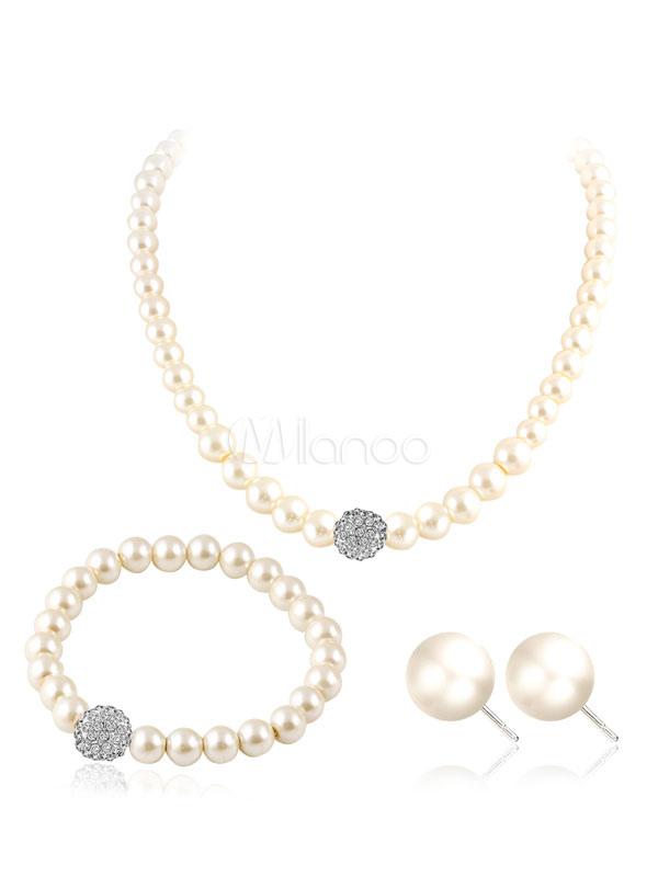White Jewelry Set Women's Rhinestones Pearls Detail Jewelry In 3 Piece Set