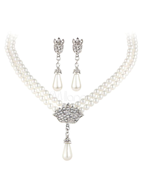 Buy Silver Jewelry Set Pearls Detail Pendant Necklace With Drop Earrings for $7.64 in Milanoo store