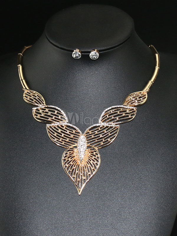 Gold Jewelry Set Women's Leaf Shape Cut Out Statement Necklace With Earrings