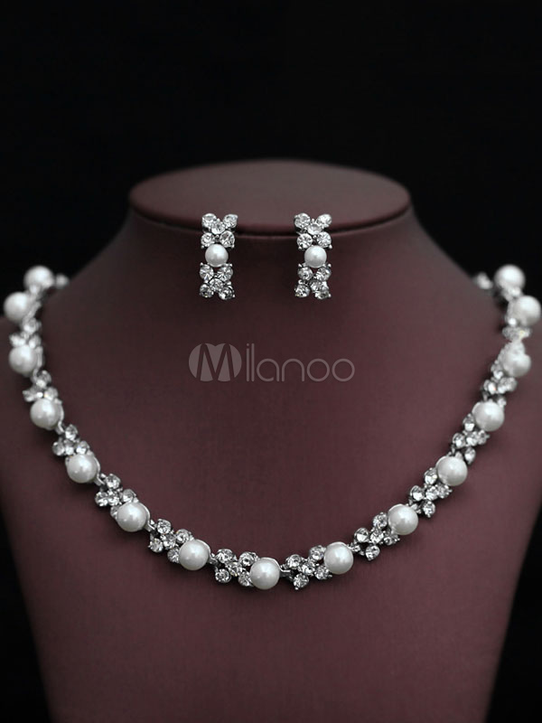 Pearls Necklace Set Silver Women's Beaded 2 Piece Jewelry Set