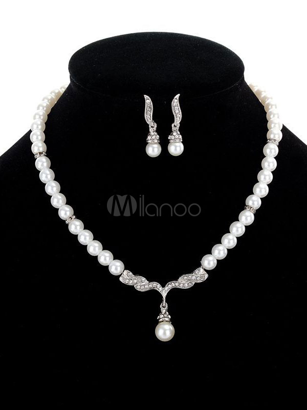 2 Piece Jewelry Set White Pearls Detail Pendant Necklace With Drop Earrings