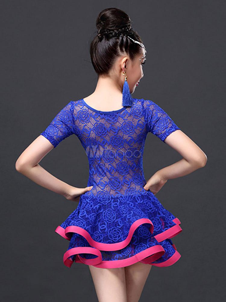Traje de baile latino de encaje fibra de poliéster con dibujo ...