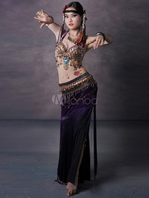 Belly Dance Costume Purple Coin Plate Beading Chain Bra Bollywood Dancing Costume 3 Piece Outfit