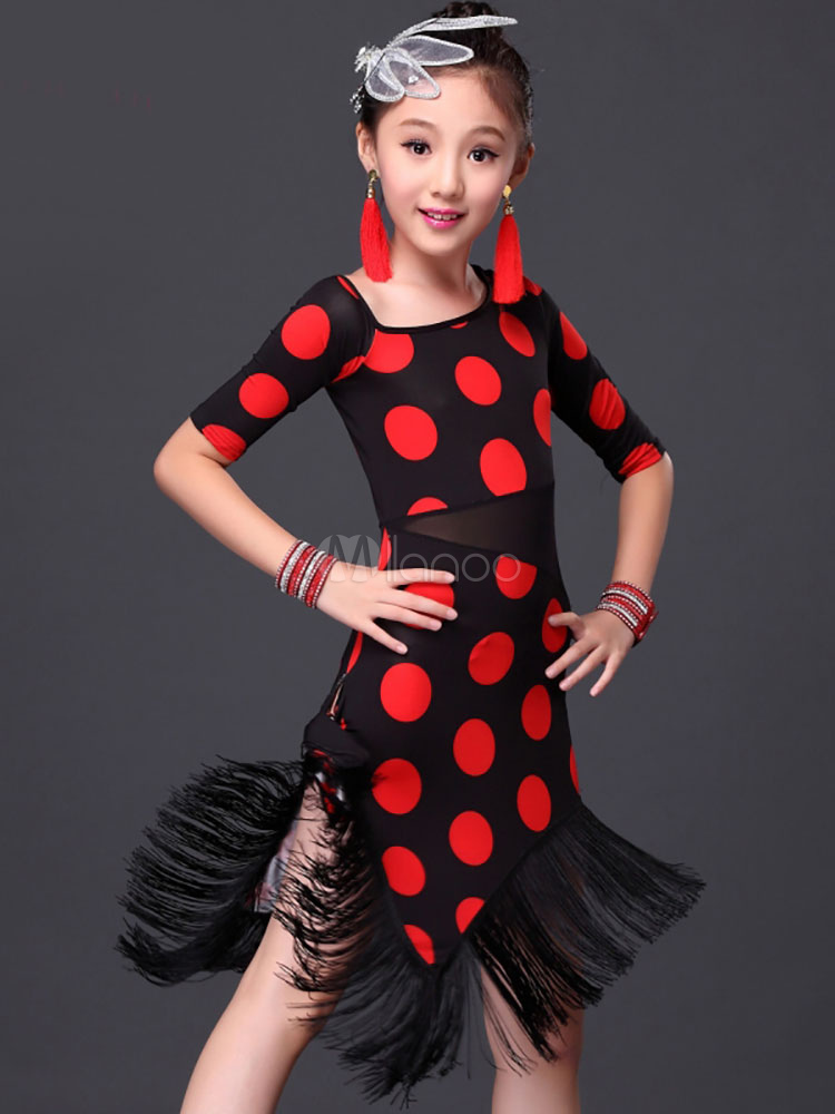 067f4916cd79 ... Latin Dance Costume Kid's Polka Dot Fringe Performance Sheath Dress ...