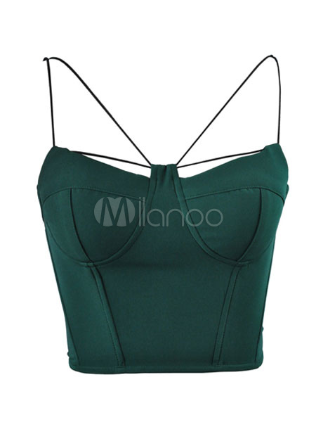 Sexy Crop Top Green Spaghetti Straps Sleeveless Low Back Slim Fit Top Cheap clothes, free shipping worldwide