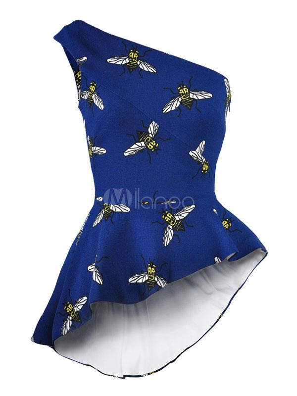 47a12cf7 Blue Mini Dress One Shoulder Animal Printed Frill Pleated Side Zipper High  Low Women's Short Dress