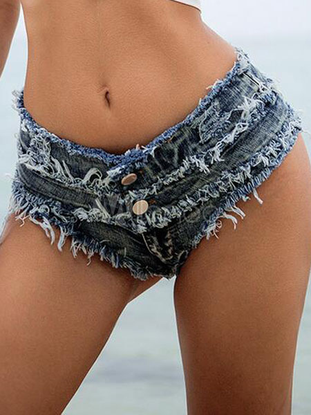Blue Denim Shorts Sexy Buttons Detail Loose Knee Hot Pants For Women