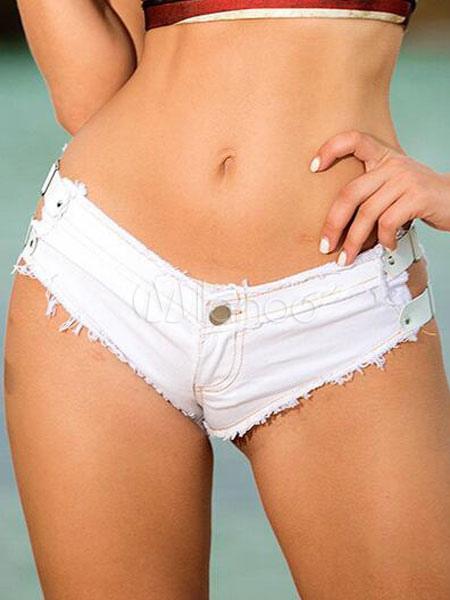 White Denim Shorts Women's Sexy Cut Out Hot Pants Cheap clothes, free shipping worldwide