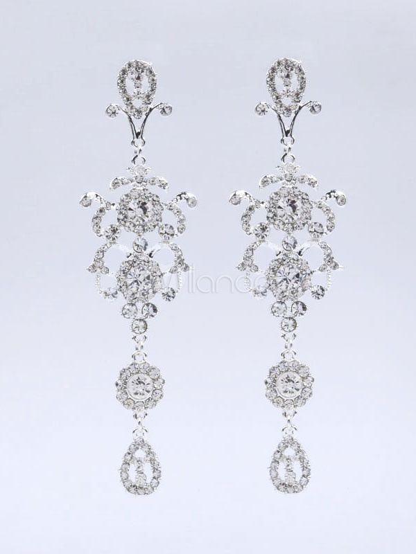Silver Wedding Earrings Rhinestones Pierced Drop Earrings